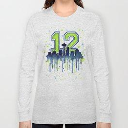 Seattle 12th Man Art Skyline Watercolor Long Sleeve T-shirt