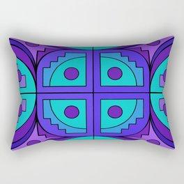Blue-Violet Gears Pseudo Quilt Rectangular Pillow