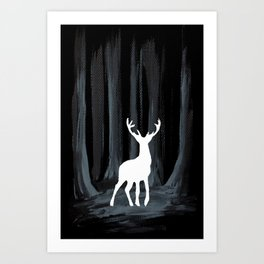Glowing White Stag Art Print
