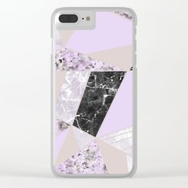 Geometrical black white lavender abstract marble Clear iPhone Case