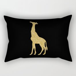 Black and Gold Giraffe Rectangular Pillow