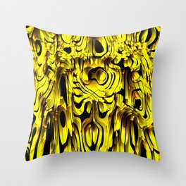 Colorful smudges of magical infinity from gold lines and dark hypnotic fixation. Throw Pillow