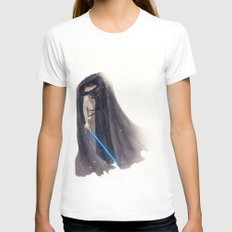 Secret Jedi Kisses SMALL White Womens Fitted Tee