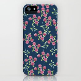 Roses on blue iPhone Case