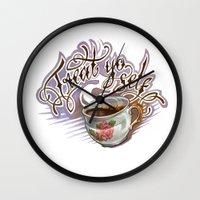 treat yo self Wall Clocks featuring Treat Yo Self by Bokkei