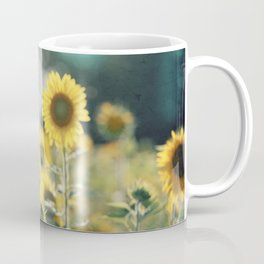 Sunflower Flower Photography, Yellow Teal Nature Turquoise Aqua Blue Green Coffee Mug