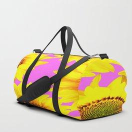 Large Sunflowers on a pink background - #Society6 #buyart Duffle Bag