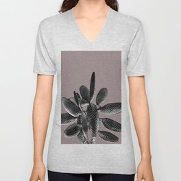 Black Mauve Cactus #1 #plant #decor #art #society6 Unisex V-Neck
