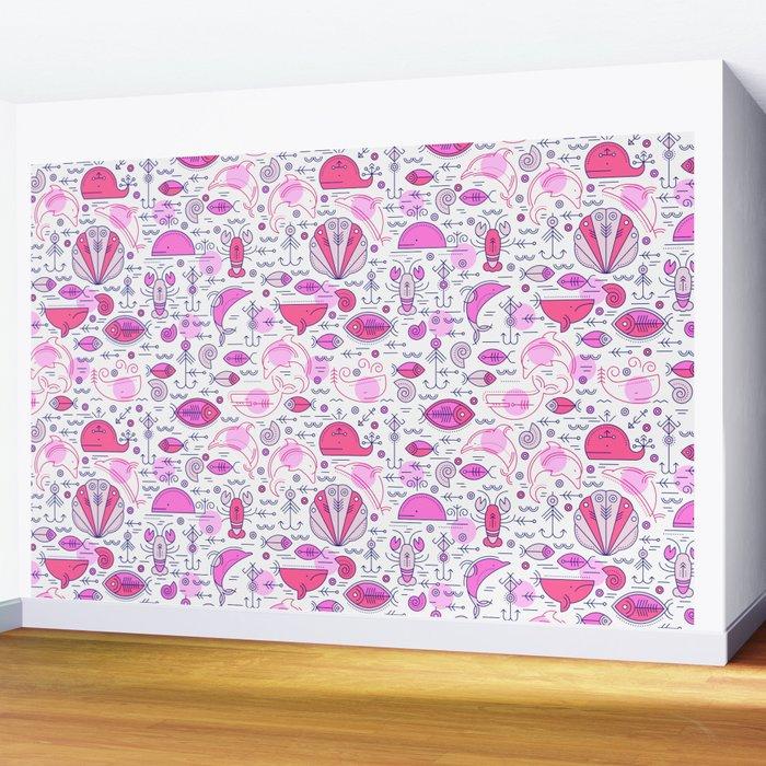 Sea pattern no 2 (pink) Wall Mural