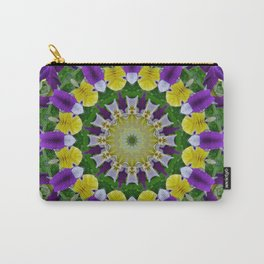 Pansies, Flower Mandala, Carry-All Pouch