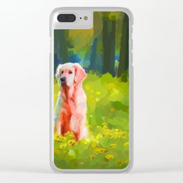 Two dogs in a wood Clear iPhone Case