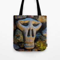 minerals Tote Bags featuring skull and minerals by giol's