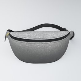Modern faux silver glitter ombre grey black color block Fanny Pack