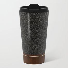 Black leather look Travel Mug