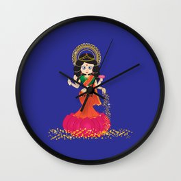 Goddess Lakshmi blue background Wall Clock