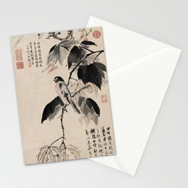 Ink Painting Calligraphy, Bird and Phoenix Tree, Wutong, Ming Dynasty, Hand Drawing Ancient Painting Stationery Cards