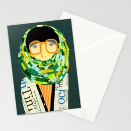 Portrait with glasses Stationery Cards