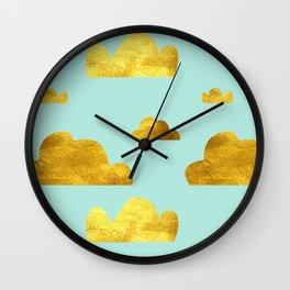 Gold cloud blue Wall Clock