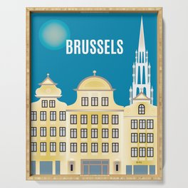 Brussels, Belgium - Skyline Illustration by Loose Petals Serving Tray