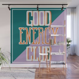 Good Energy Club- turquoise, orange, and lavender Wall Mural