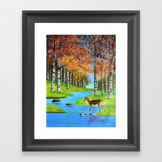 Birch trees in the fall  Framed Art Print