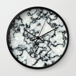 Black & White Marbled Texture with Mint Veins Wall Clock