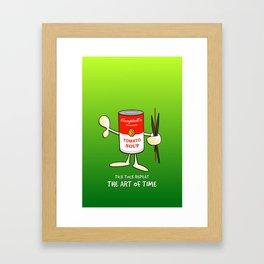 Tomato soup clock (green) Framed Art Print