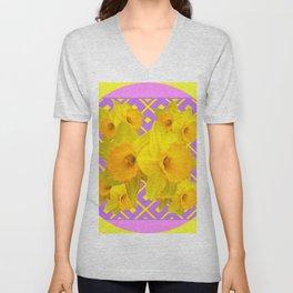 Golden Yellow Daffodils Bouquet Garden Lilac Art Unisex V-Neck