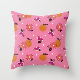 Electric Orange Pattern Throw Pillow