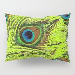 PURPLE ART NOUVEAU GREEN PEACOCK FEATHERS ABSTRACT ART Pillow Sham