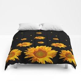 GOLDEN STARS YELLOW SUNFLOWERS  BLACK COLOR Comforters