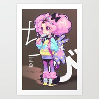 barachan Art Prints featuring chibi by barachan
