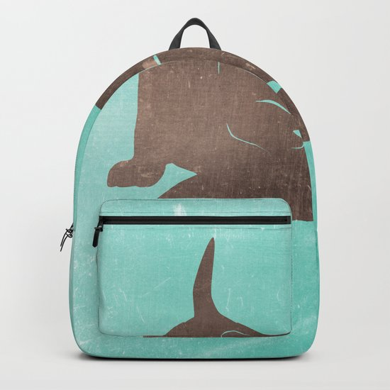 Happy kitten plays with a ball - minimalist illustration Backpack
