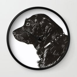 Black Lab Print Wall Clock