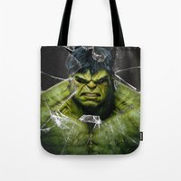lannister Tote Bags featuring Angry HULK  by bimorecreative