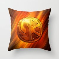 daenerys Throw Pillows featuring IMPERIAL LOGO by BeautyArtGalery