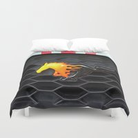 mustang Duvet Covers featuring Firey Mustang by VHS Photography