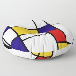 Primary Colors Geometric Pattern Fabric - Mondrian Fabric - Bauhaus Style Lines Home Decor Cotton Floor Pillow