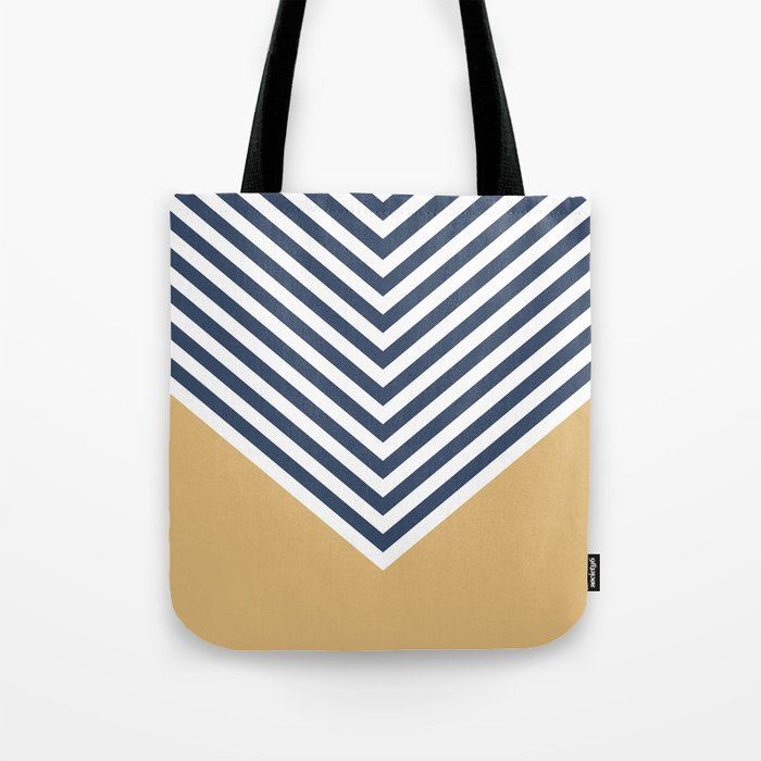 Gold & Navy Chevron Tote Bag