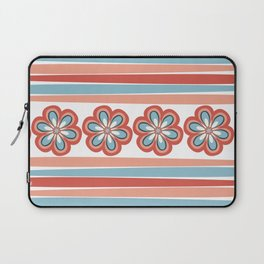 Fractal Flowers and Stripes in Modern Turquoise and Orange Coral Laptop Sleeve