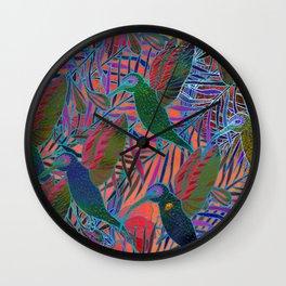 Watercolor textured seamless tropical pattern. Humming bird. Wall Clock