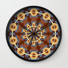 Blue Wood Kaleido Pattern Wall Clock