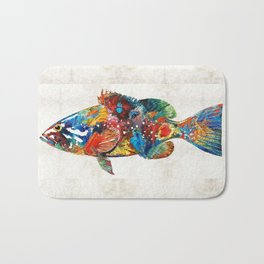 Colorful Grouper Art Fish by Sharon Cummings Bath Mat