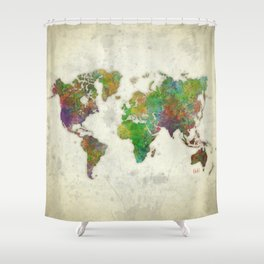 World Map Color Shower Curtain