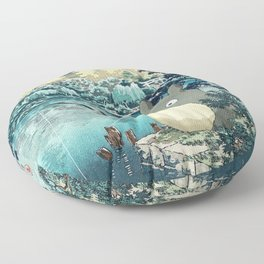 Japanese woodblock mashup Floor Pillow