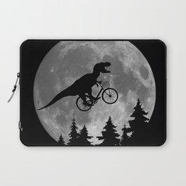 Biker t rex In Sky With Moon 80s Parody Laptop Sleeve