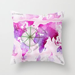 Watercolor map (magenta) Throw Pillow