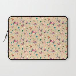 Hot Pink Magenta + Neon Mint Green Coastal Crab Pattern Repeat, Sand Dollars + Sea glass Laptop Sleeve