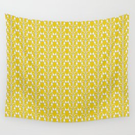 Snow Drops on Mustard Yellow Wall Tapestry