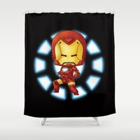 ironman Shower Curtains featuring Chibi Ironman by artwaste